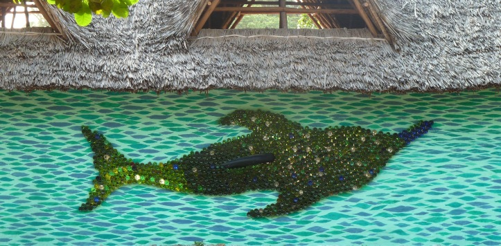 Bottlenose Dolphin at the Recycling Centre made From 1,000 glass bottles